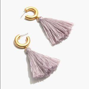 Madewell lavendergold tassel statement earring NWT